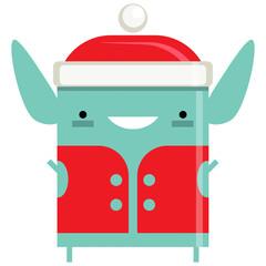 Happy simple smiling Elf Santa Claus cartoon character