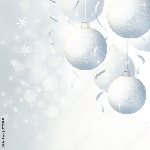 Silver background with Christmas balls