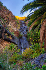 Waterfall near Masca village with mountains, Tenerife, Canarian
