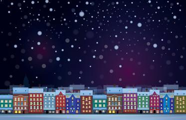 Vector of winter  night cityscape.