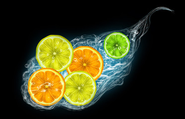 Citrus fruits on a black background