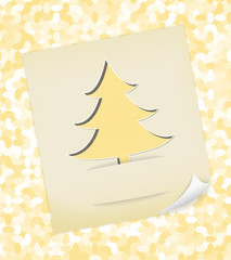 Christmas card with textured tree