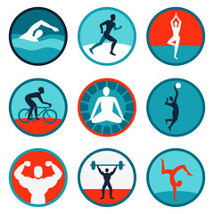 Vector fitness icons and signs