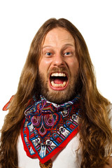 Angry screaming hippie man isolated on white.