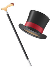 cylinder hat and walking stick vector illustration