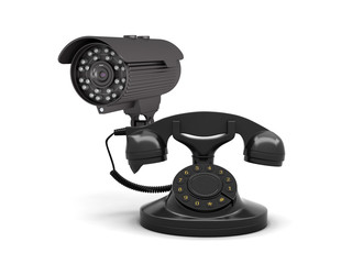 Retro rotary phone and security camera on white background