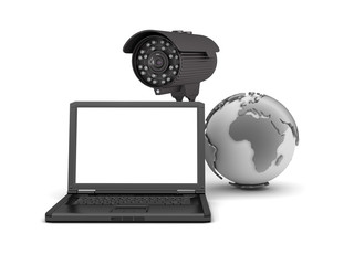 Video surveillance camera and laptop