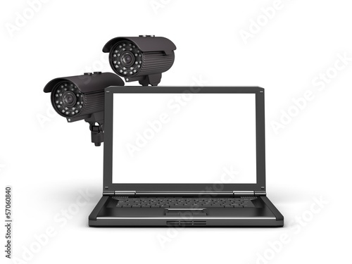 Two security cameras and laptop