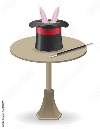 magic wand and cylinder hat on the table vector illustration
