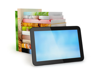 Stack of books and tablet computer