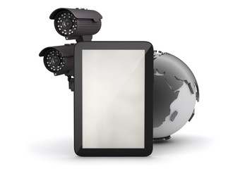 Tablet computer and surveillance camera