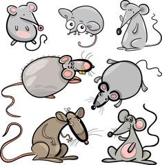 mice and rats set cartoon illustration