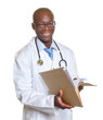 African doctor reading a medical record