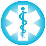 Medical symbol caduceus snake with stick