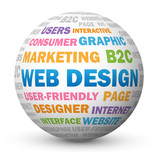 """WEB DESIGN"" Tag Cloud Globe (graphics internet website webpage)"