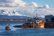 Ship wrec near Ushuaia, Tierra del Fuego. Boats line the harbor