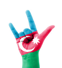Hand making I love you sign, Azerbaijan flag painted