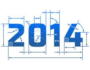 New Year 2014 number with dimension lines. Blueprint element