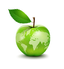 Green apple earth design, vector illustration