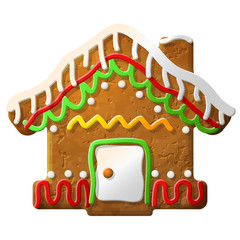 Gingerbread house decorated colored icing