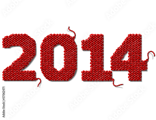 New Year 2014 of knitted fabric isolated on white background