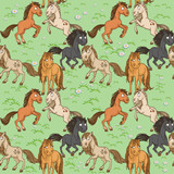 Seamless pattern of cute horses frolicking on a green lawn