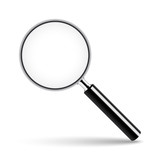 Magnifying glass with transparent glass on isolated background