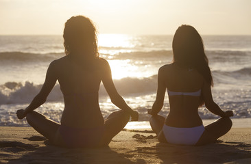 Two Bikini Women Girls Sitting Sunset Sunrise Beach