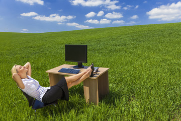 Businesswoman Relaxing Office Desk Green Field
