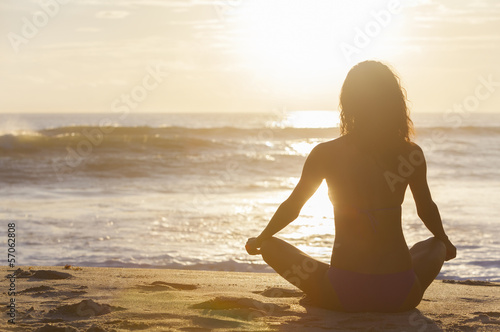 Woman Girl Sitting Sunrise Sunset Bikini Beach