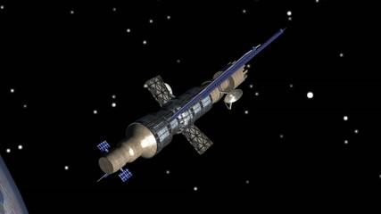 Kommunikations-Satellit im Orbit über Europa
