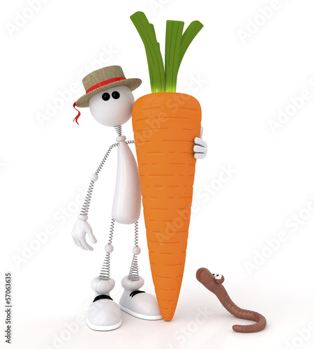 The 3D white little man with carrot.