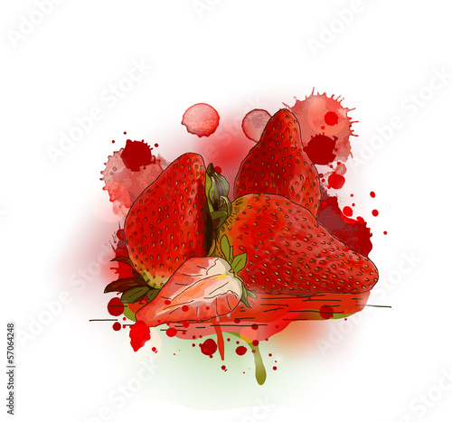 Strawberries - Watercolor design