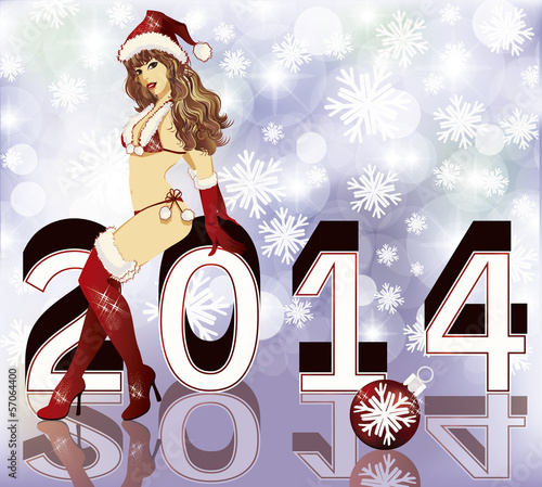Sexy Santa girl 2014, vector illustration