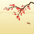 Plum blossom and fisherman in Chinese painting style