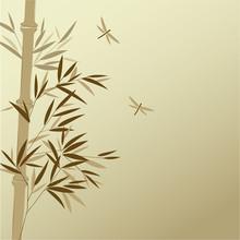 Bamboo avec des libellules dans le style de la peinture chinoise