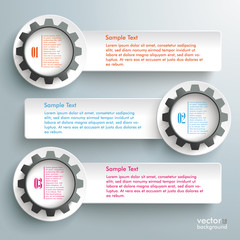 Three White Banners Black Gears Infographic