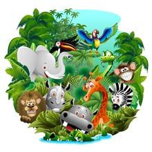 Cartoon zwierząt dzikich zwierząt dżungli, na dziki w dżungli