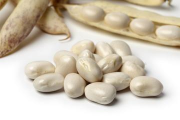 Peeled fresh white coco beans close up