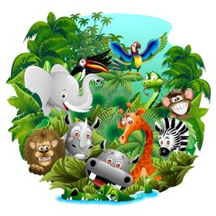 Wild Animals Cartoon on Jungle-Animali Selvaggi nella Giungla © BluedarkArt