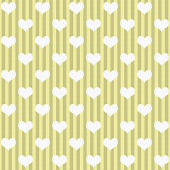 Yellow and White Hearts and Stripes Fabric Background