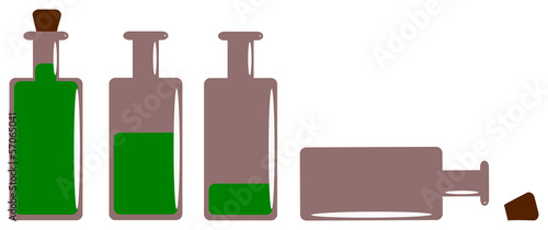 bottles with alcohol on white background