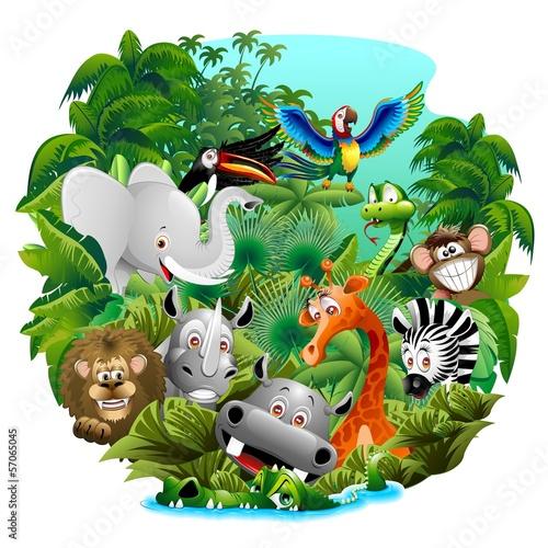 Deurstickers Draw Wild Animals Cartoon on Jungle-Animali Selvaggi nella Giungla