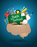 Vector creative brain mixed school supplies idea concept