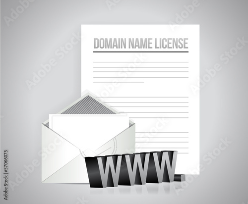 domain name license papers illustration