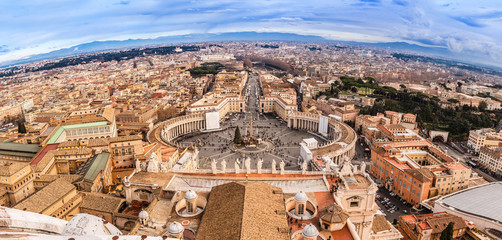 Rome, Italy. Famous Saint Peter's Square in Vatican and aerial v