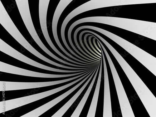 Tunnel of black and white lines - 57066242