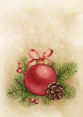 Vintage greeting card. Watercolor Christmas ball and pine