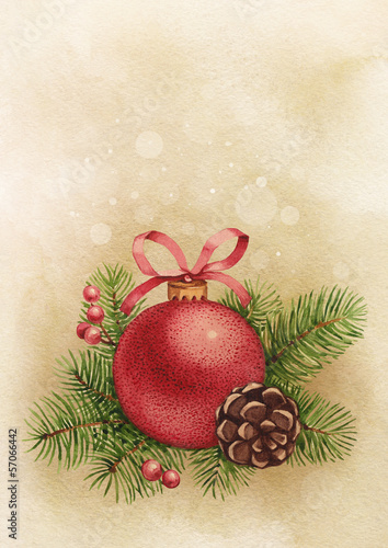 Vintage greeting card. Watercolor Christmas ball and pine