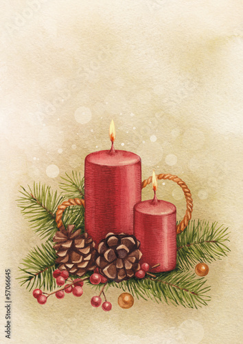 Vintage Christmas card. Watercolor candle and pine